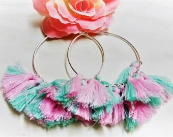 Fringe Hoops, Silver Hoops, Tassel Hoops, Fan Earrings, Large Hoops, Large Silver Hoops, Statement Earrings, Mint Hoop Earrings, Pink Hoops