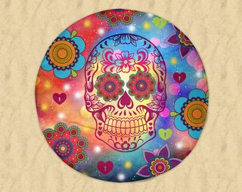 """Floral  Sugar Skull Round Beach Towel  60"""", Colorful Fun, Day of The Dead"""