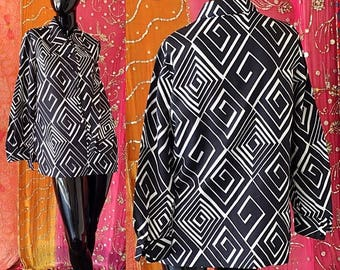 Sale Alex Colman Tunic 70s Tunic Psychedelic Mod Tunic Vintage 70s Geometric Tunic