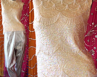 60s Cashmere Beaded Fringe Sweater Ivory Sequin Crown Colony Couture Sweater