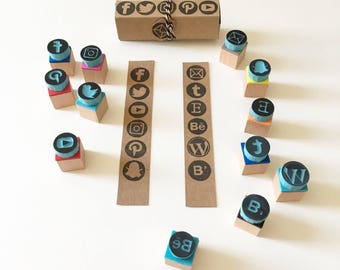 Social media icon rubber stamps, business promoting stamps, personal cards, DIY cards
