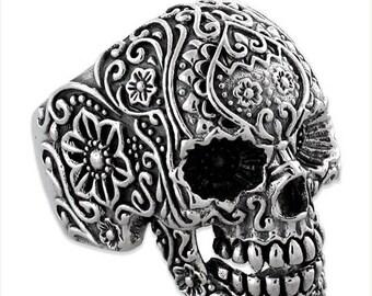 June SALE Sterling Silver 925 Biker Skull Ring Floral Design Made in USA