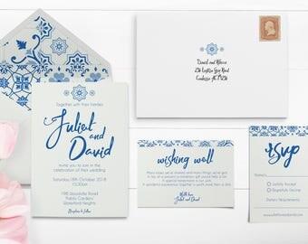 Mexican Tiles - Mexican Wedding Invitations - Greek Invitations - Greek Wedding - Blue Tile - Hispanic - Wedding Invites - Invitation Set