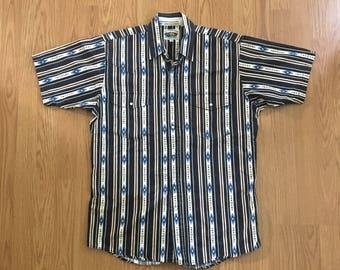 VTG Western Shirt - Medium Mens - Long Tail Shirt - Cowboy Shirt - Rockabilly - Vintage Clothing - Short Sleeve Button Up - Snap Buttons -