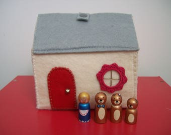 Cottage and its 4 Figurines wooden - Goldilocks and the three bears