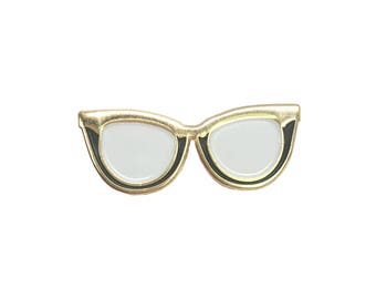 Cat Eye Glasses Enamel Pin