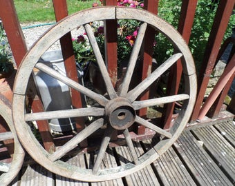 Authentic Genuine Wooden 10 spoke Cart Wheel (62 cm) with steel banding to the wheel face steel fixtures to the hub all original condition