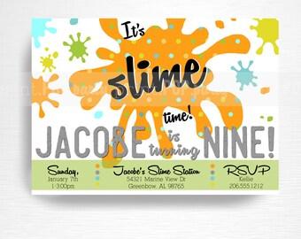 Slime Birthday Party Printable Invitation YOU Print Boy Orange Black Blue Green Slime Foam Beads