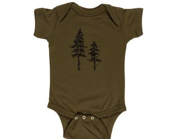 Pine Trees Cotton Onesie