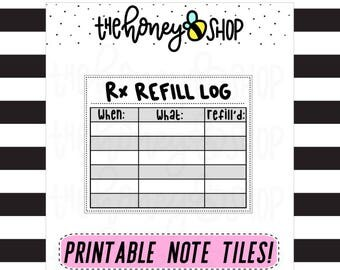 Rx Refill Log | PRINTABLE NOTE TILE