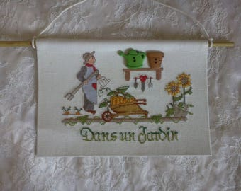 """cross stitch """"in a garden"""" (perfect gift!)"""