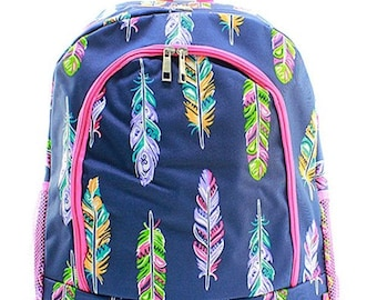 Back to School Backpack Feather design / Travel bag bags backpacks / Cheer Dance Gymnastics