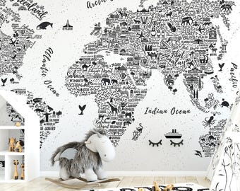 World Map Typography Wallpaper Mural