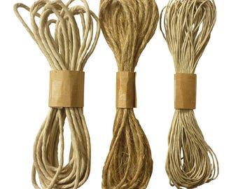 Set of 3 jute - natural jute Twine 14.50 strings m