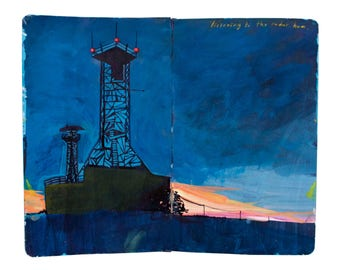 "Fine Art Print of Landscape Painting from Artist Travel Journal - ""Radar Towers on Utö Island, Finland"""