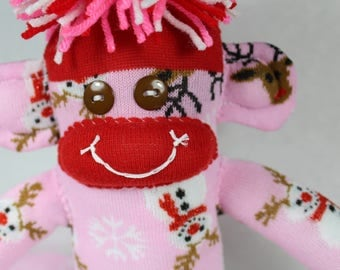 Sock Monkey, Snowmen and Reindeer, Pink Red Brown White, Christmas, Holiday, Gift, Decoration, Nondenominational, Unisex, One of a Kind