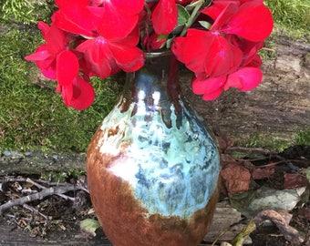 Small Vase - Bud Vase - Caramel Brown with Oceanic Swirl - Wheel Thrown Pottery