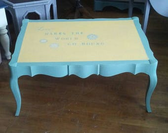 Boho Style Coffee Table, Green and Yellow Coffee Table, Refurbished Coffee Table, Eclectic Coffee Table, Hippie Coffee Table, Painted Table