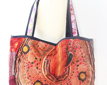 Large shoulder Bag handmade vintage hmong hemp textile pieces of tribal costume ( v56 )