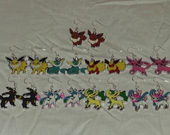Free Shipping Pokemon Earrings, Eevee Earrings, Flareon Earrings, Umbreon Earrings, Vaporeon, Espeon, Glaceon, Sylveon. Jolteon, Leafeon