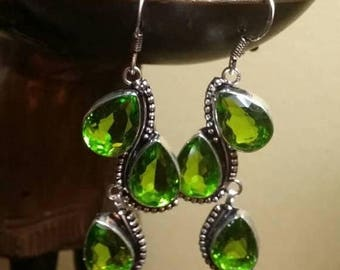 Holiday SALE 85 % OFF Peridot  Sterling silver Earrings Gemstone  .925
