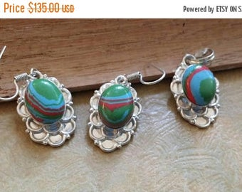Holiday SALE 85 % OFF Rainbow  Clasilica Earrings Pendant  Gemstone 925 Sterling Silver Jewelry Set