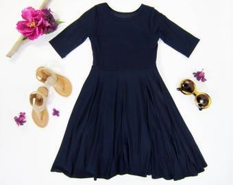 Girls Navy Blue Dress, Girls Twirly Navy Blue Dress, Girls Dresses Sizes 2/3, 4/5, 6/6X, 7/8, 10/12, 14 Ready to Ship
