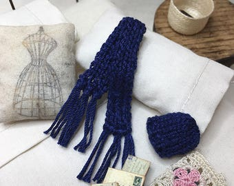 Miniature Dollhouse Hank Knitted Hat and Scarf Set - Navy