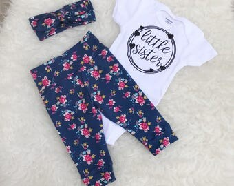 "Tiny Floral ""Little Sister"" Set - Hearts"