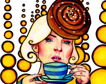 "Art Print ""Fika"", Portrait, Cinnamonbun, Coffee, Swedish Tradition, Manners & Customs"