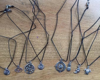 Sterling Silver Plated Black/Brown Cord Chokers