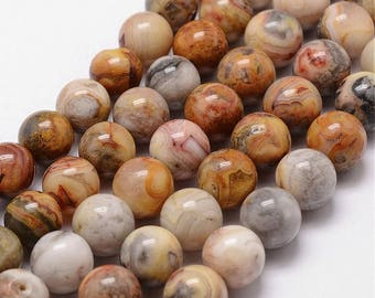 6mm Crazy Lace Agate Beads Gemstone Yellow Brown Red Stone Beads (12 beads)  Gemstone Smooth Round Stone Beads