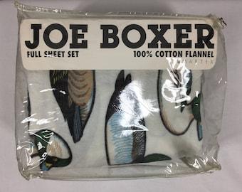 NOS Joe Boxer Flannel Flat Sheet And Pillowcase Full Ducks Vintage 1993 Hunting Lodge Cabin Mallards Duck Hunting