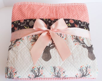Baby Quilts for Girls, Deer Nursery Bedding, Deer Baby Blanket, Whole Cloth Quilt, Baby Quilt Handmade, Forest Animal Nursery, Crib Quilt