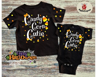 Baby Girls Halloween Outfit, Candy Corn Cutie, Baby Girls Halloween Shirt, Girls Candy Corn Halloween Shirt, Girls Fall Birthday Outfit