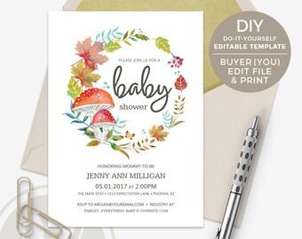 Fall Baby Shower Invitation - DIY Template, Buyer Edits & Prints, Autumn Baby Shower Invitation, Woodland Baby Shower Invitation