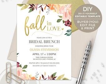 Fall Bridal Shower Invitation - Fall Bridal Brunch Invitation, Fall in Love Bridal Shower Invitation, DIY TEMPLATE, Buyer Edits