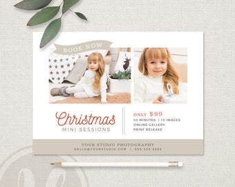 Christmas Mini Session Template - Christmas Markeing Board, Christmas Marketing, Holiday Mini Session Template, Holiday Marketing Board