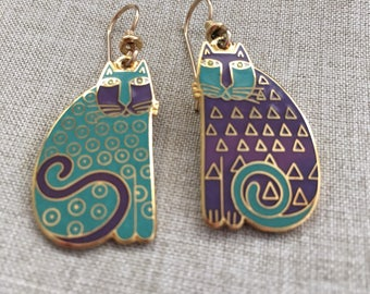 ELIJAHS CATS Vintage Gold Plated Laurel Burch - Hard to Fine Dangle Earrings - Dark Areas are From the Camera