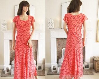 Unworn Bias cut silk chiffon dress 1930s style Silk 1930s Silk dress Art Deco Dress Coral silk dress Silk Wedding Dress Evening dress Maxi