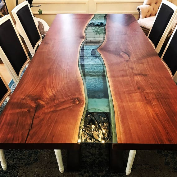 Black Live Edge Coffee Table: Live Edge Black Walnut River Table With Half Moon Base Live