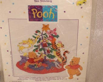 "Cross Stitch Kit ""Tree Trimming Pooh"" by Symbol of Excellence #34015 NEW NIP"