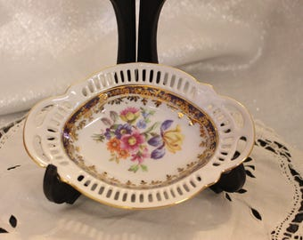 Beautiful Vintage Small Dresden China Dish with Flowers in the Center Made in Germany