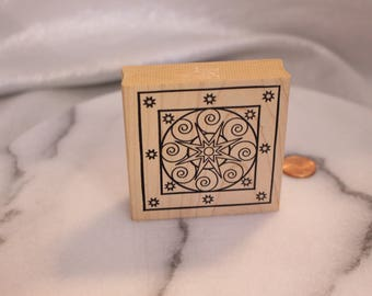 Star Wheel Swirl Design Art Stamp, Art Journal, Wood Stamp for Scrapbooking or Card Making, Rubber Stamp Co.