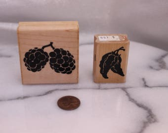 Set of Two Garden Berries and Peppers Wood Stamps for Scrapbooking or Card Making Altered Art