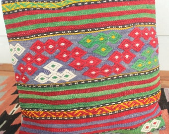 40cm Vintage kilim cushion cover handwoven - strong colours green blue red
