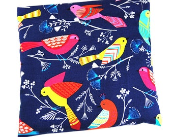 "Heating pad in cherry pits 20 x 20 ""multicolored birds"" bottom Navy"