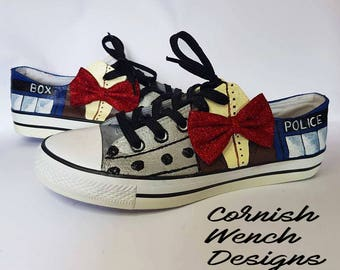 Custom made Dr. Who Inspired Converse style trainers, 'THE DR' Tardis, Dalek