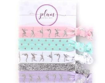 Gymnastics Hair Ties, Gymnastics Gift for Girls, Ponytail Holder Stocking Stuffer for Kids, Gifts Under 10, Hair Accessories, Set of 5