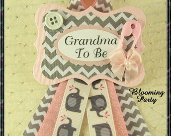 Pink Elephant Grandma To Be Corsage Elephant Baby Shower Grandma Corsage Pink and Gray Grandma To Be Badge